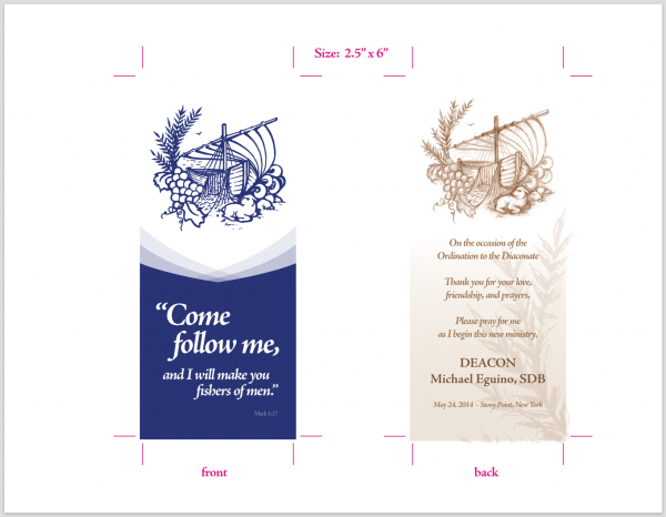 Bookmarks - Prayer Cards - Diaconal Ordination - Ordination to the Diaconate